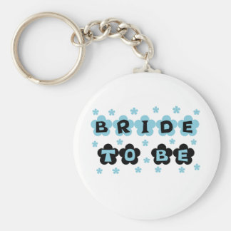 Black and Blue Flowers Bride to Be Basic Round Button Keychain