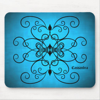 Black and blue hearts and swirls personalized mouse pad