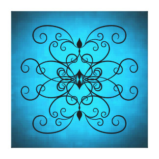 Black and blue hearts and swirls stretched canvas prints