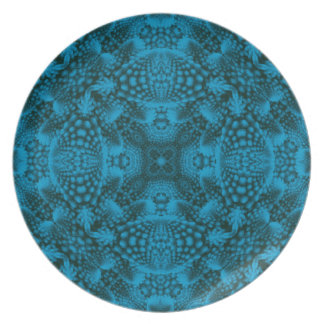 Black And Blue Kaleidoscope Melamine Plate