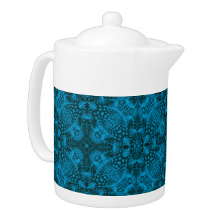 Black And Blue Kaleidoscope Pattern  Teapots