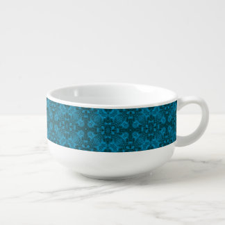 Black And Blue Kaleidoscope   Soup Mugs