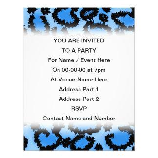 Black and Blue Leopard Print Pattern. Invite
