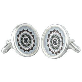 Black and Blue Mandala Cuff Links