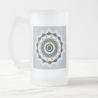 Black and Blue Mandala Frosted Glass Beer Mug