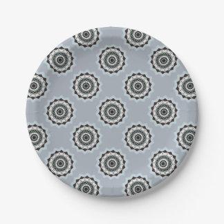 Black and Blue Mandala Paper Plate
