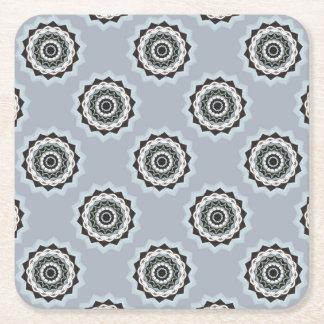 Black and Blue Mandala Square Paper Coaster