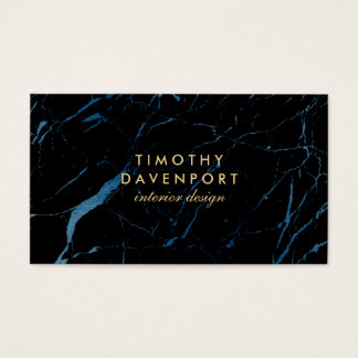 Black and Blue Marble with Faux Gold Text II Business Card