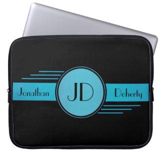 Black and Blue Monogrammed Laptop Sleeve
