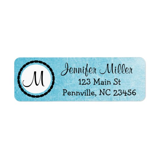 Black and Blue Monogrammed Return Address Labels