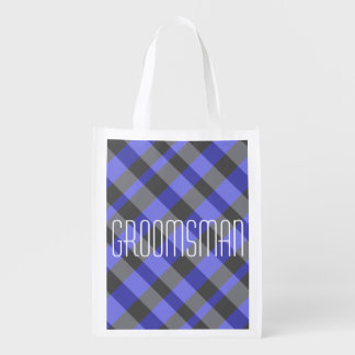 Black and Blue Opaque Plaid Groomsman Bag Grocery Bags