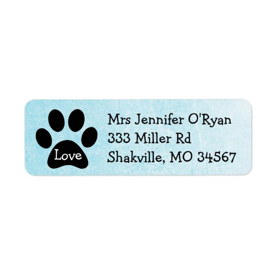 Black and Blue Paw Print Return Address Label