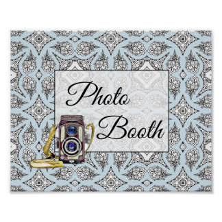 Black and Blue Photo Booth Wedding Sign Poster