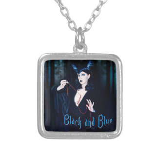 Black and Blue Small Silver Plated Square Necklace