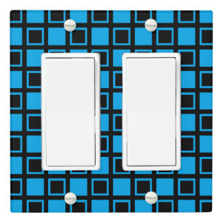 Black and Blue Squares Light Switch Cover