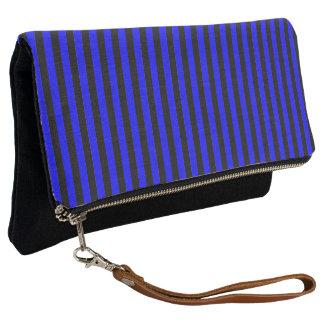 Black and Blue Stripe Clutch