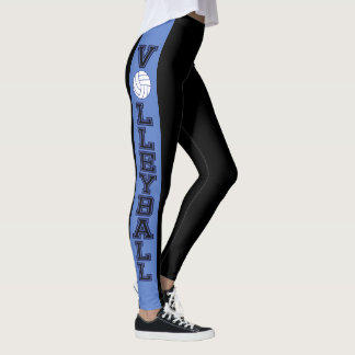 Black and Blue Stripe with Dark Blue Volleyball Leggings