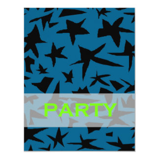 Black and Blue Teen Boy Party Invitation