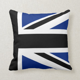 Black and Blue Union Jack Half Throw Pillow