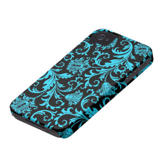 Black And Blue Vintage Floral Damasks Pattern Case-Mate iPhone 4 Case