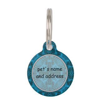 Black And Blue  Vintage Kaleidoscope Dog Cat Tags