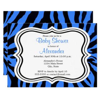 Black and blue zebra boy baby shower invitations