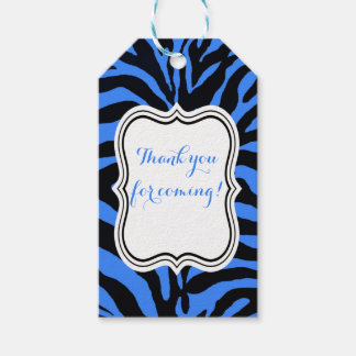 Black and blue zebra jungle animal fashion gift tags