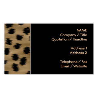 Black and Brown Cheetah Print Pattern. Pack Of Standard Business Cards