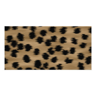 Black and Brown Cheetah Print Pattern Photo Card Template