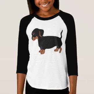 Black and Brown Dachshund Girls' Raglan T-Shirt