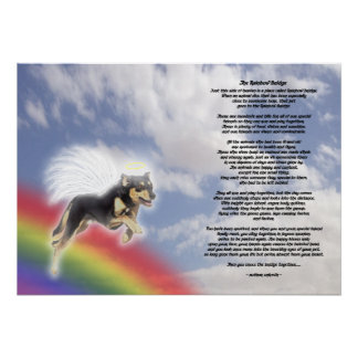 Black And Brown Dog Angel At Rainbow Bridge Poster