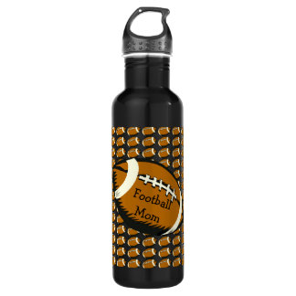 Black and Brown Football Mom Sports Water Bottle