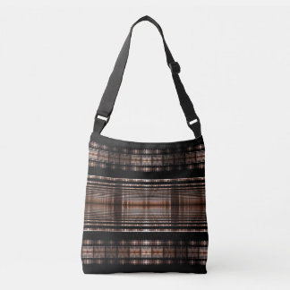 Black and brown fractal art on cross body bag