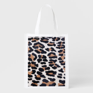 BLACK AND BROWN LEOPARD REUSABLE GROCERY BAGS