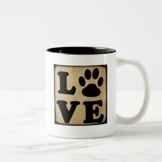 Black and Brown LOVE Paw Print Coffee Mug