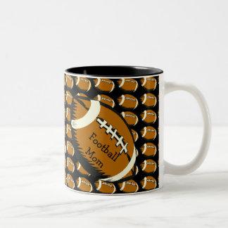 Black and Brown Sports Football Mom Mug