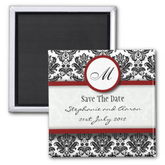 Black and Burgundy Damask Monogram Save The Date Magnet