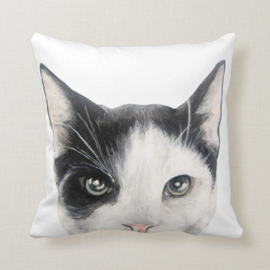 Black and Cat print of original painting by miart. Throw Pillow