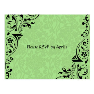 Black and Celadon Lace RSVP Postcard