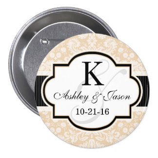 Black and Champagne Damask Wedding 3 Inch Round Button