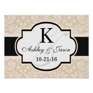 Black and Champagne Damask Wedding Poster