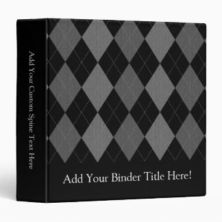 Black and Charcoal Gray Argyle 3 Ring Binder