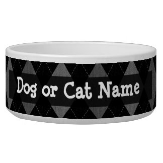 Black and Charcoal Gray Argyle Dog Bowls