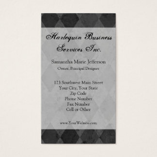 Black and Charcoal Harlequin with Script Business Card