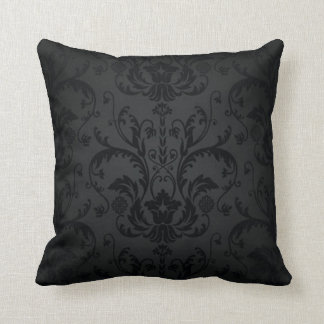 Black and Charcoal Seamless Floral Mojo Pillow