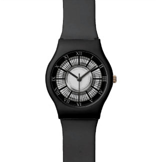 Black and Chrome Watch Face with Roman Numerals