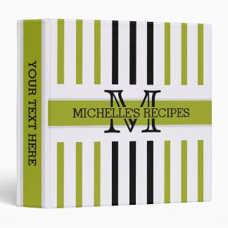 Black and Citron Stripes Modern Monogram Vinyl Binders