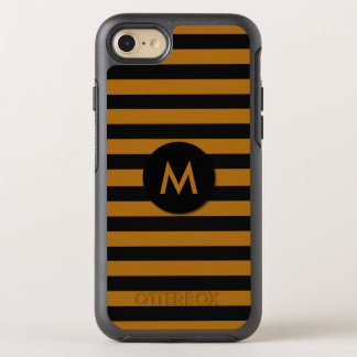 Black and Coffee Color Striped Monogram OtterBox Symmetry iPhone 7 Case