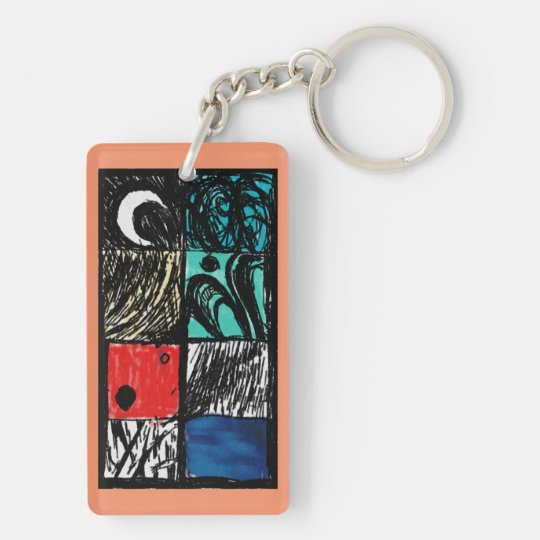 Black and Colour Abstract Keychain