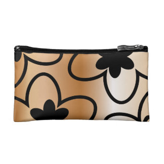 Black and Copper Colored Heart / Flower Makeup Bag
